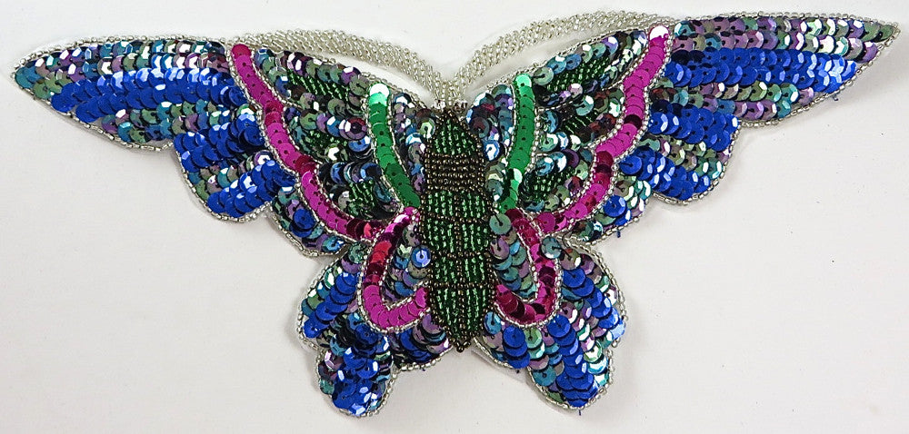 "Butterfly with Multi-Colored Sequins and Beads 10"" x 5"""