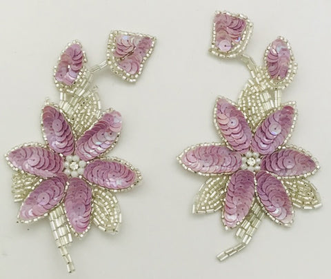 "Flower Pairs and Singles with light Lavendar Sequins and Silver Beads and center Rhinestones  6"" x 3.5"""