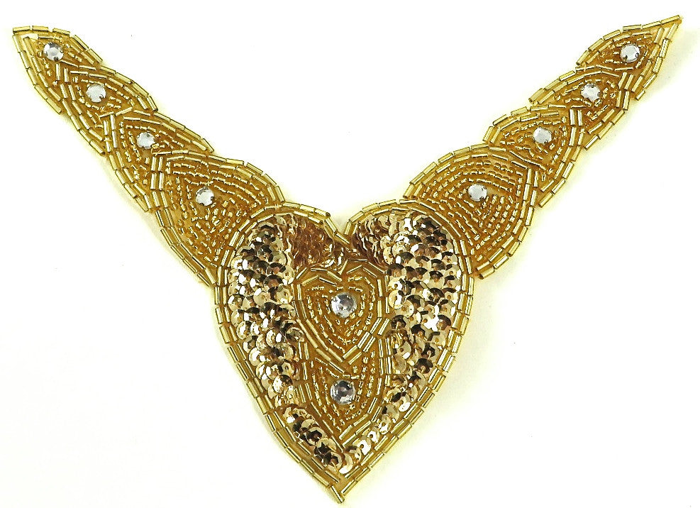 "Designer Motif Collar with Gold Sequins Beads and Rhinestones 8"" x 6.5"""