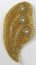 "Load image into Gallery viewer, Designer Motif Shell Shaped Gold Beads and Rhinestones 5"" x 3"""