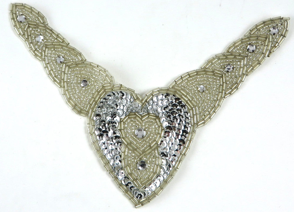 "Designer Motif Collar with Silver Sequins and Beads and Rhinestones 8"" x 6.5"""