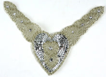 "Load image into Gallery viewer, Designer Motif Collar with Silver Sequins and Beads and Rhinestones 8"" x 6.5"""