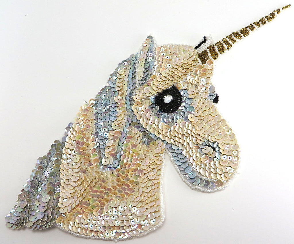 "Unicorn with Beige and Blue Sequins and Rhinestone Eye 8.5"" x 9.5"""