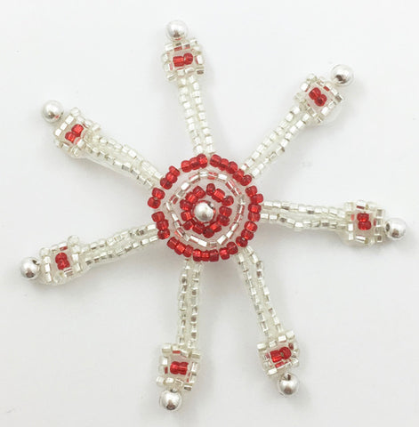 Ships Wheel with Silver and Red Beads 2.5""