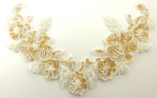 "Load image into Gallery viewer, Flower Collar with Med Cream China White Sequins and Beads 7"" x 13"""