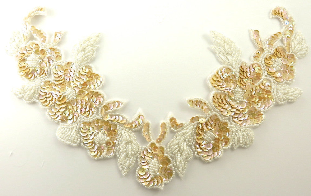 Flower Collar with Med Cream China White Sequins and Beads 7