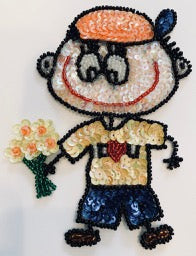 "Cartoon Boy with handfull of flowers 5.5"" x 3.5"""