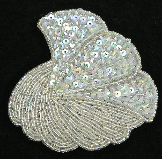 "Designer Motif Shell Shaped Iridescent Sequins and Beads 4"" x 3.75"""