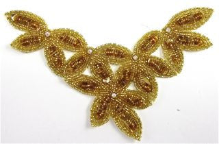 "Flower Neck Line Gold Beaded with AB Rhinestones 7.5"" x 4.5"""