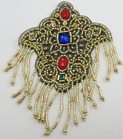 "Epaulet with Gold Beads Jewels Black Background  4.5"" x 3"""
