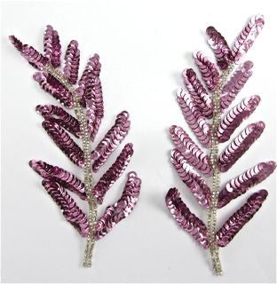 "Leaf Pair with Pinkish Mauve Sequin 6"" x 3"""