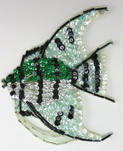 "Load image into Gallery viewer, Fish with Green and Silver  Sequins 6.5"" x 5"""