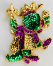 "Load image into Gallery viewer, Mardi Gras Dancing Frog 5"" x 3.5"""