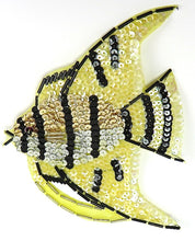 "Load image into Gallery viewer, Fish with Yellow and Black Sequins and Beads 6.5"" x 5"""