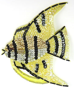 "Fish with Yellow and Black Sequins and Beads 6.5"" x 5"""