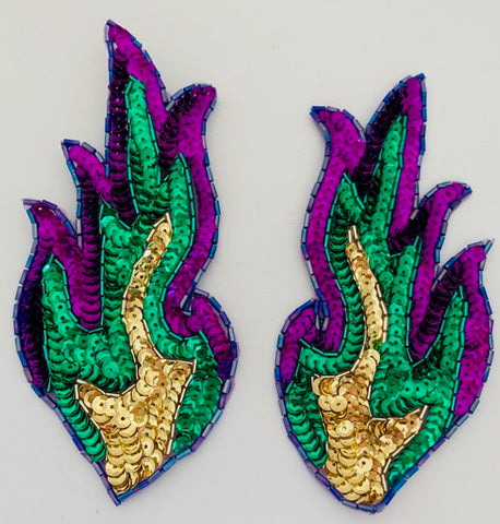 "Flames Mardi Gras Colors Green/Purple/Gold 6"" X 3"""
