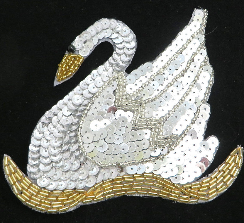 "Swan Silver and Gold Sequins and Beads 4.5"" x 5"""