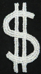 "$Sign with Iridescent Beads 4"" x 2"""