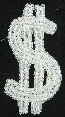 "Dollar Sign Iridescent Beaded 3"" x 1.5"""