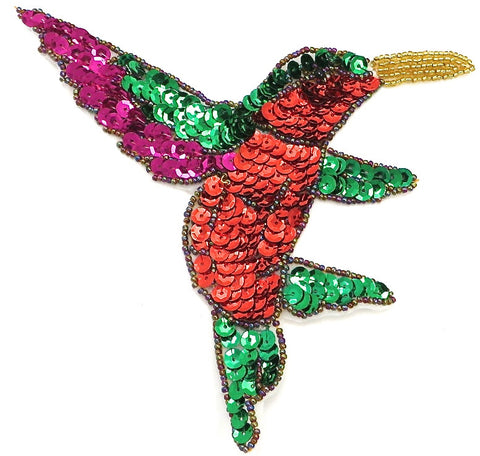 "10 PACK Hummingbird with Red Green Fuchsia Sequins and Beads 7"" x 6.5"""