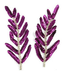 "Leaf Pair with Purple Sequins and Silver Beads 6"" x 3"""