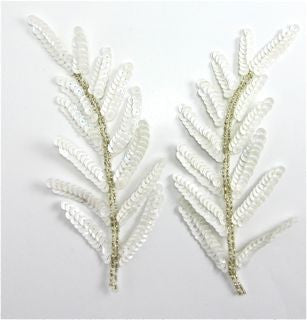 "Leaf Pair with White Sequins and Silver Beads 6"" x 3"""