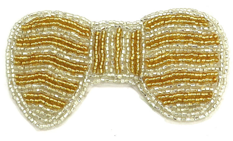 "Bow Gold and White Stripe 3.75"" x 2"""