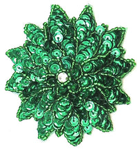 "Load image into Gallery viewer, Flower with Green Sequins and Beads 3"" x 3"""