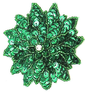 "Flower with Green Sequins and Beads 3"" x 3"""