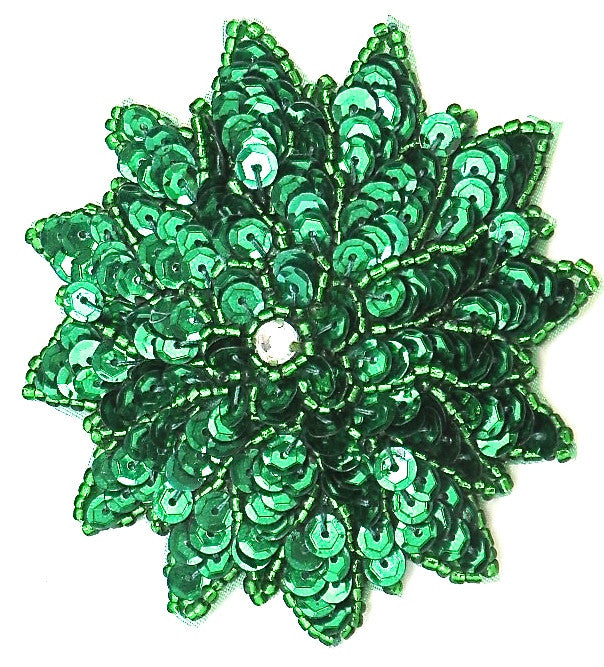 Flower with Green Sequins and Beads 3