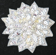 "Load image into Gallery viewer, Flower with Silver Sequins, Beads and Middle Rhinestone 3"" x 3"""