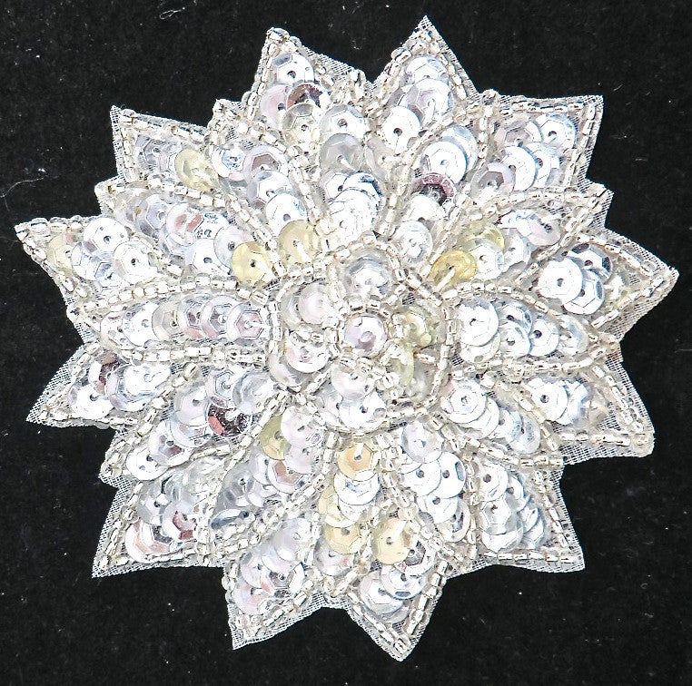 Flower with Silver Sequins, Beads and Middle Rhinestone 3