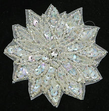 Load image into Gallery viewer, Flower with Iridescent Sequins, Beads and Center Rhinestone 3""