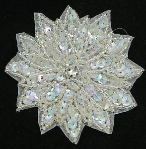 Flower with Iridescent Sequins, Beads and Center Rhinestone 3""
