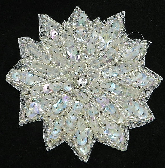 Flower with Iridescent Sequins, Beads and Center Rhinestone 3