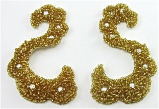 "Designer Motif with Raised Gold Beads and AB Rhinestones 4"" x 2"""