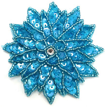 "Load image into Gallery viewer, Flower with Turquoise Sequins and Beads and Rhinestone 3"" x 3"""