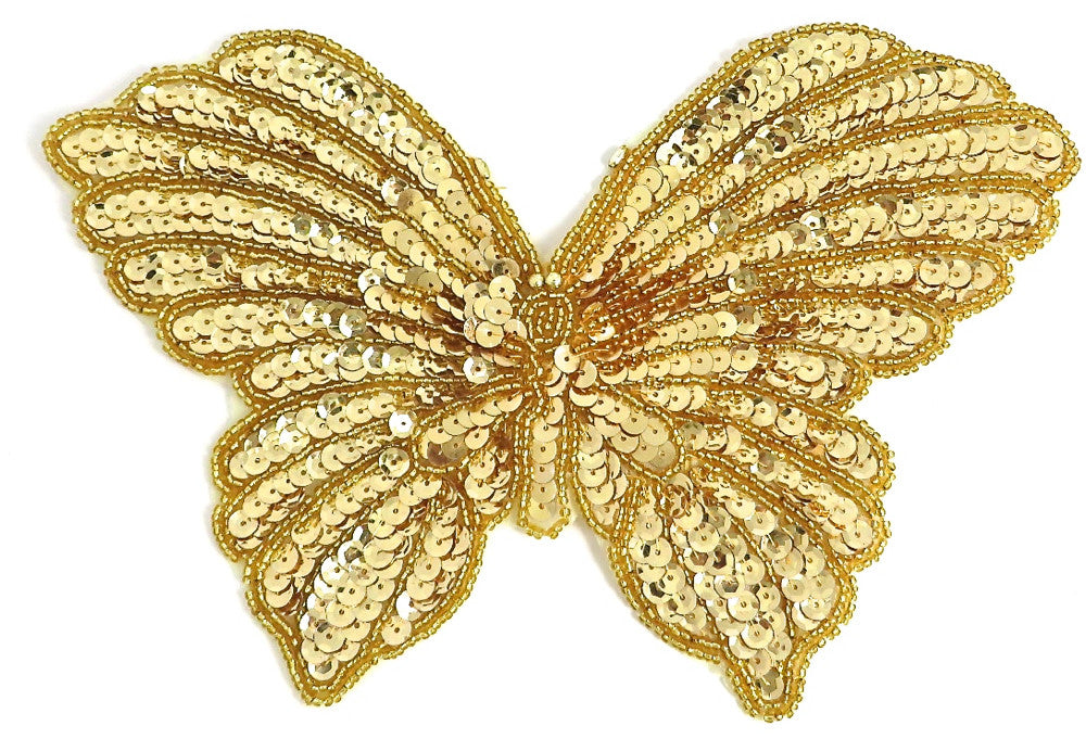 "Butterfly in 2 Colors, Gold Sequins and Beads, and Moonlight 9"" x 6"""