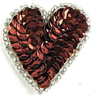 "Heart with Bronze* Sequins and Silver Trim 1.5"" x 1.5"""