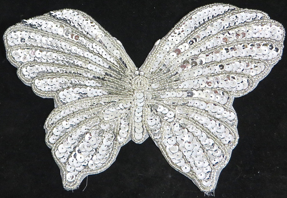 "5 PACK Butterfly with Silver Sequins and Beads  6"" x 9"" - Sequinappliques.com"
