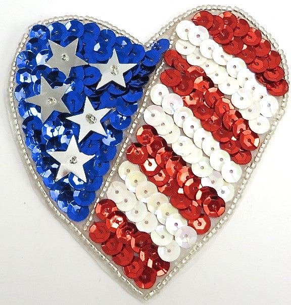 Flag Heart with Red White and Blue Sequins and Beads  3.5