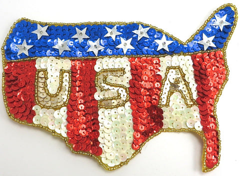 "Flag Map with Stars USA Red White Blue Sequins and Beads 5"" X 7"""