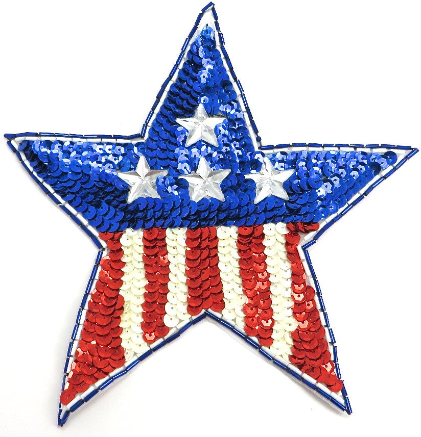 American Flag Motif Star, Sequin Beaded with Clear Star-Shaped Acrylic Stones 4.75""