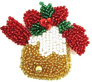 "Bell for Christmas with Red White Green Gold Beads 2""x 2"""