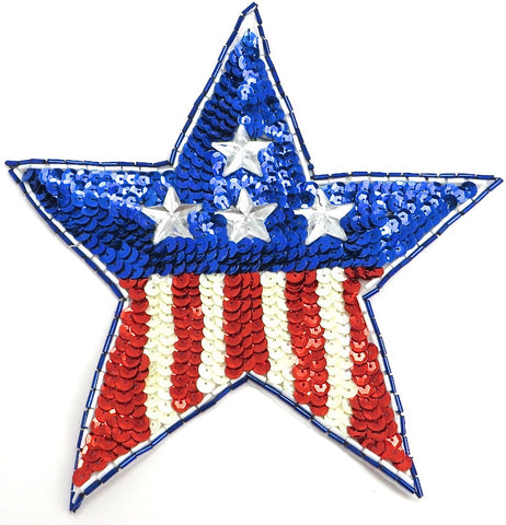 "American Star with Sequins and Beads Large 4.25"" x 4.75"""
