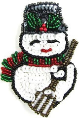 "Snowman with White and Black Sequins 3.25"" x 2"""