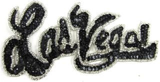 "Las Vegas Word with Black Sequins and Beads 6.5"" x 4.5"""