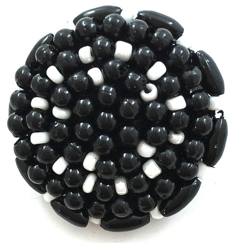 Button Black and white Beads 1""