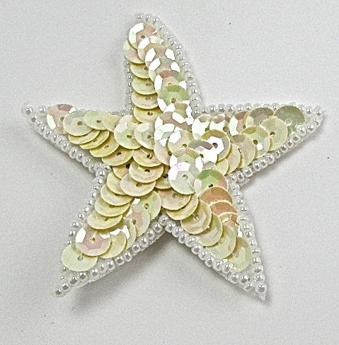 Star with China Beige Sequins and White Beads 2.5""