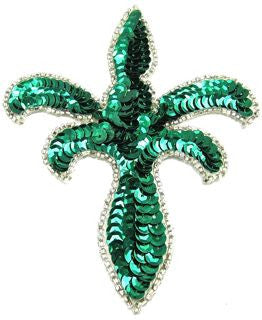 "Design Motif with Emerald Sequin Fleur de lie 5"" x 4"""